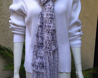 Long fringe scarf black and white super soft handmade crocheted gorgeous multi colored scarf.