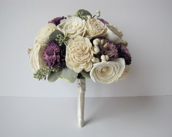 Ivory and Purple Bridal Bouquet, Purple accented bridal bouquet, keepsake bridal bouquet, alternative bridal bouquet, unique bridal bouquet