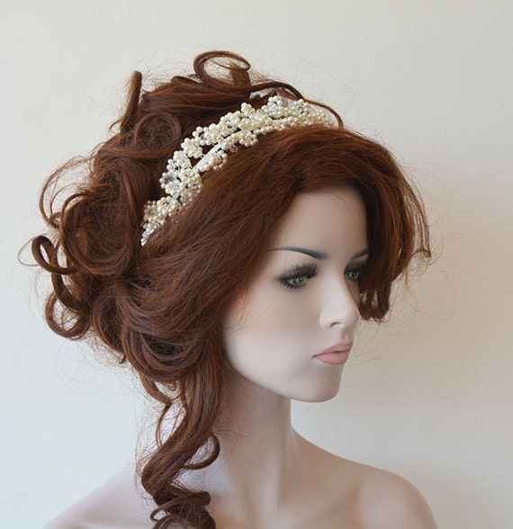 Wedding Hairstyle Crown: Marriage Bridal Hair Crown Wedding Ivory Pearl Tiara