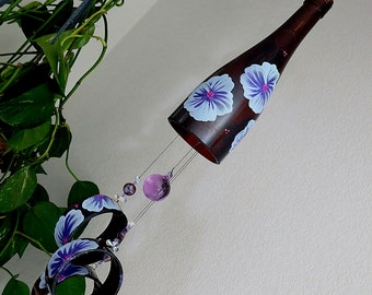 Wine bottle wind chime, Recycled glass bottles, yard art, patio decor, brown glass, Lt blue and Purple flowers