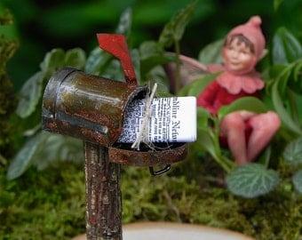 Fairy Garden Mailbox - miniature newspaper - rusty mail box for terrarium or miniature garden accessories