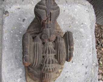 Architectural Salvage Fragment Primative Wood Figural carving rearing Horse