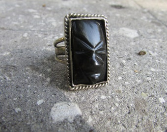 Mexican Silver Black Onyx Aztec Warrior face ring size 6