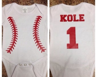 Personalized Baseball Onesie