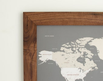 World Map, Push Pin Map, World Map Wedding, Travel Map, Push Pin Travel Map, Gift for Men, Travel Gifts, Map Art, Push Pin Map with Frame