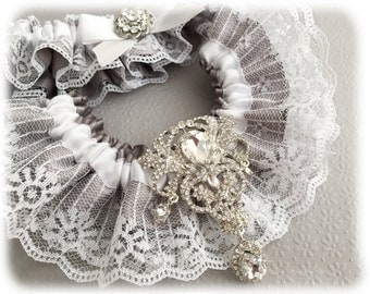Vintage Inspired Gray Garter Set, Gray Bridal Garter Set, Lace Garter Set, White Lace Wedding Garter Set, Crystal Garter Set