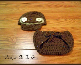 Crochet Brown Newsboy Hat and Tie Diaper Cover/Photo Prop