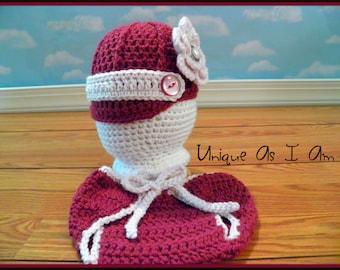 Crochet Baby Newsie Hat and Tie Diaper Cover