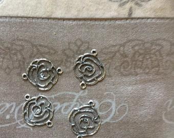 4 Pcs Gorgeous Filigree Rose Flower Connectors /Pendants