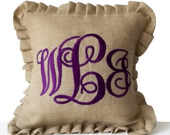 Burlap Monogram Pillows -Custom Ruffle Pillow -Cursive Font Three Letters Monogram Pillows -Initial Cushion -Baby -Wedding Pillow -16x16
