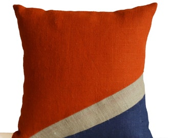 Burlap Pillow Cover, Nautical Pillow, Oceanic Pillow, Orange Blue Pillow, Color Block Pillow, Present, Housewarming, Dorm Decor, All Sizes