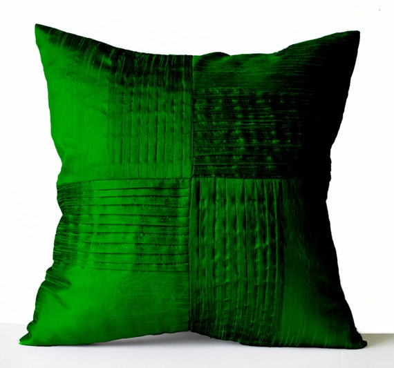 Green Silk Throw Pillow : Items similar to Throw Pillow Cover Emerald Green Silk, Decorative Pillow Case, Pleated Textured ...