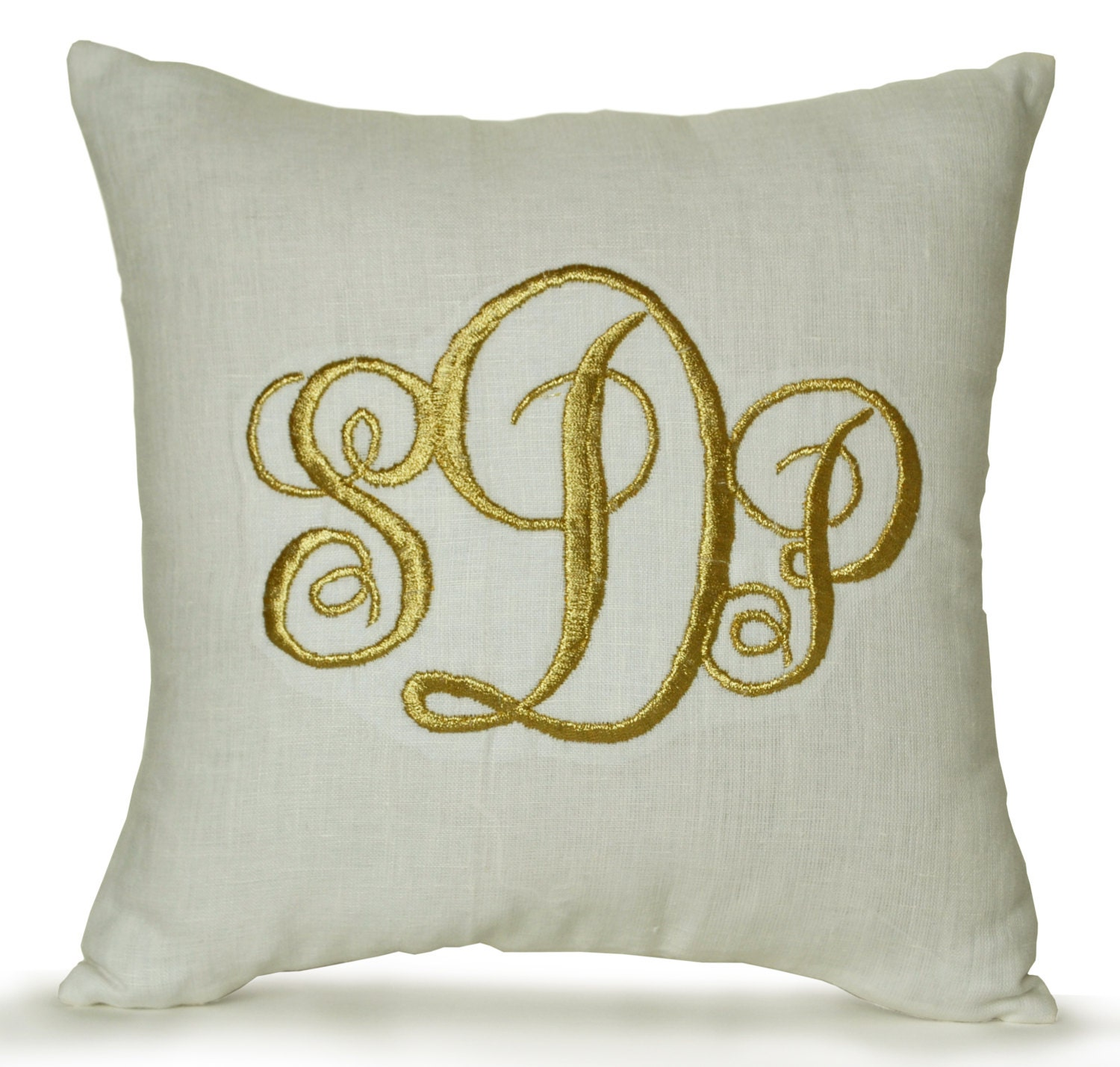 Decorative Pillows With Monogram : Monogrammed Linen Pillow Cover Monogram Pillow Dorm Decor