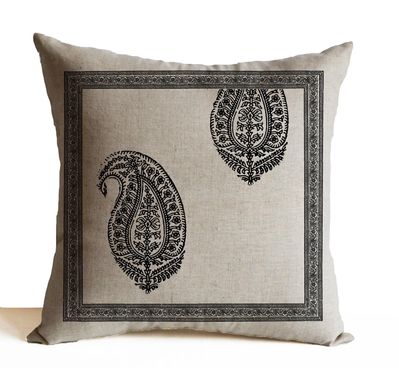 Decorative Sofa Pillows: Decorative Throw Pillows Sofa Ivory Cotton Grey Paisley Pillow