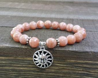 yogo mala sunstone stretch chakra bracelet wrist mala chakra bracelet energy bracelet power beads meditation beads yoga bracelet