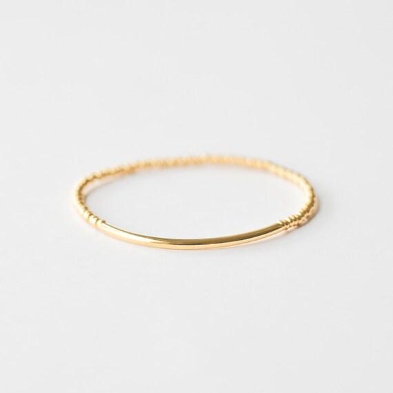 gold tube bar bracelet minimalist dainty jewelry friendship