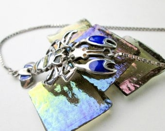 "Vintage 60s, Enameled 2"" Lobster Pendant Necklace, Sterling Silver,17"" Chain USA."