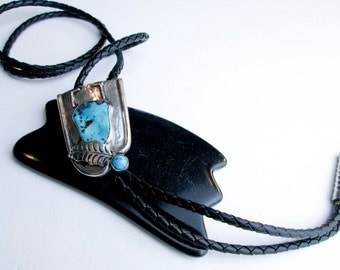 50s Bolo Tie Native American Navajo Sterling & Genuine Turquoise, Vintage, Black Braided Leather Cord Silver Tips, Southwest USA.