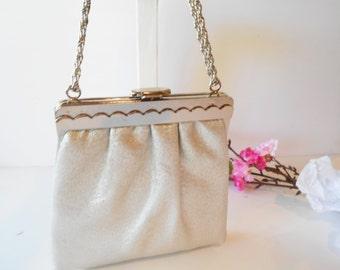 Silver Evening Bag, Shimmery Purse, Silver Evening Purse, Wedding Bridal, Special Occasion, Glamorous Purse, Silver Handbag  EB-0608