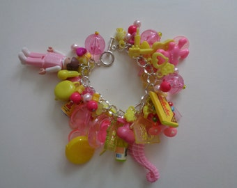 Mega Pink & Yellow Charm Bracelet