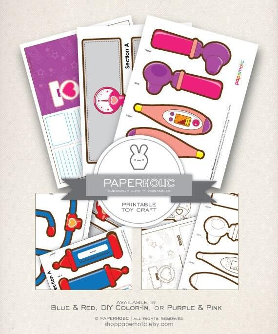 DIY Coloring Doctors Kit Printable Coloring By ShopPaperholic