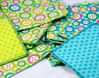 "12 Flannel Makeup Remover Pads, Face Wipe, Finger Wipes Go Green - Reusable Cloth Pad -   3 3/4"" Square  Green and Turquoise Button Print"