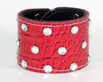Red Gator Embossed Leather Studded Cuff - Red Leather Cuff with triple row crystals - Made In USA