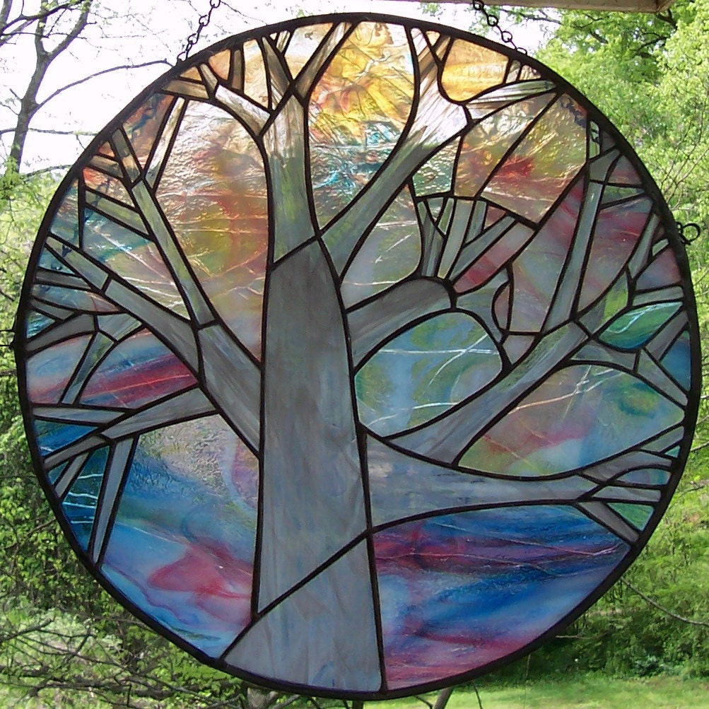 Stained Glass Round Window Panel Tree at Dawn Magnificent