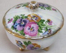 Beautiful Vintage Porcelain Dresser Box with Pink and Purple Pansy Decor Gold Feet and Trim Made in Japan
