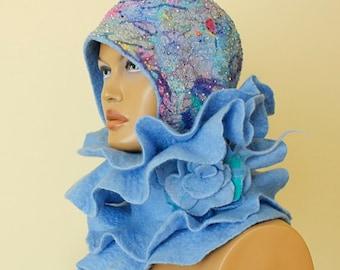 Blue felted scarf Collar nunofelt Silk wool scarf Nuno felt Felt Scarf Neck warmer Collar Ruffle felted