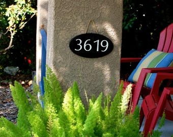 Address Numbers  Hanging Engraved Wood Plaque