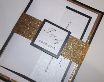 Glitter Wedding Invitations - Gold Glitter Wedding Invitation