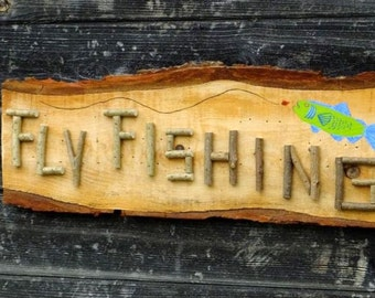 Cabin decor fly fishing etsy for Fly fishing decor
