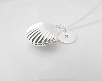 Shell Locket Necklace, Silver Shell Locket Necklace, Nautical Necklace, UK Seller, Gift for Girl, BFF Gift, Under the Sea, Bridesmaid Gifts