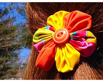 Handmade Fabric Flower Pony Tail Holder, Elastic Hair Tie