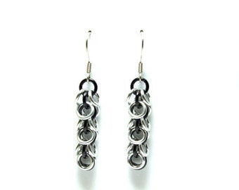 Black and Silver Anodized Aluminum Shaggy Loops Earrings