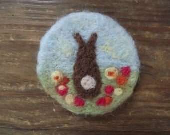 Little brown bunny in a field needle felted brooch - made to order