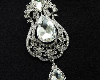 20% OFF - Bridal Brooch, Swarovski Crystal Brooch, Vintage Style Brooch, Royal Style Dangle Brooch, Rhinestone Brooch