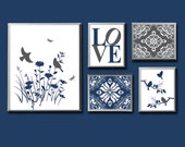 Navy and grey wall art print set, Home wall decor, damask, vintage, black, white, love, birds, flowers, elegant home art, bedroom -UNFRAMED