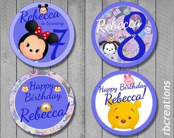 Tsum Tsum Cupcake Toppers, Tsum Tsum Party, Tsum Tsum Birthday, Tsum Tsum Party Supplies - Digital Printable