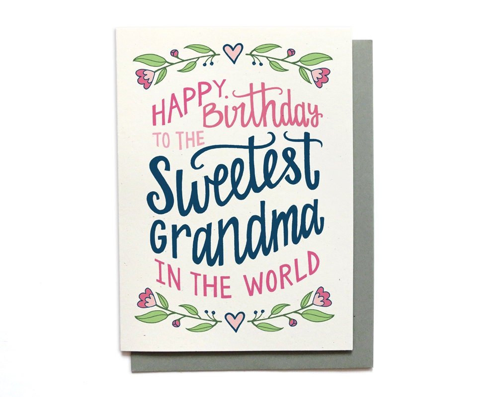 Grandma Birthday Card Sweetest Grandma in the World – Birthday Cards for Grandma