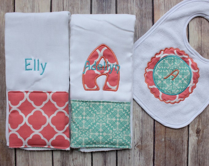 Monogrammed Baby Girl Coral Aqua Burp Cloth Set, Personalized Burp Cloth Set, Baby Shower Gift, Burp Cloth Bib Set, Personalized Baby Gift