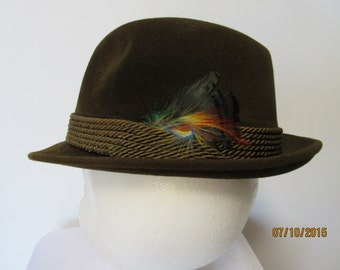 Imperial Stetson Hat  Size 7 1/8 hat with feather and rope trim  very dark green green/brown