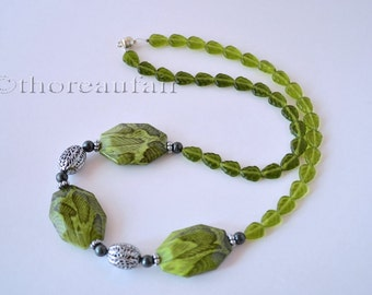 SALE Amazon Necklace - Green Tropical Leaves and Snake Skin