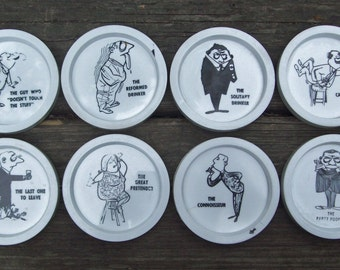 Vintage Party Coasters Plastic Comical Illustrated Set of 8