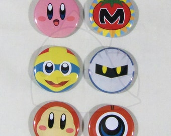 Kirby Buttons, Magnets or Keychains 1.5 Inches