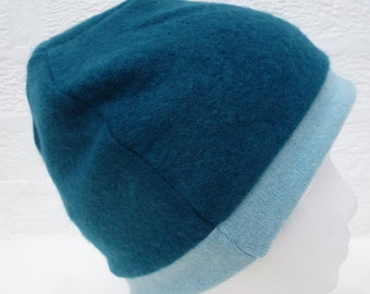 Blue teal hat soft beanie gift for her cashmere accessory womens hat small ladies cosy beanie hat cashmere beanie handmade teens winter hat.