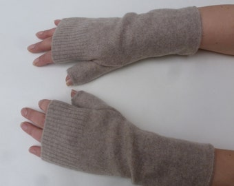 Beige armwarmers cashmere fingerless gloves eco-friendly gift accessories for her texting mitts medium handwarmers beige womens accessories.