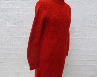 Sweater dress red vintage handmade chunky clothing ladies clothes womens dress wool 70s knit gift womens fashion vintage festival dress knit