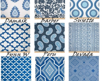 "Contemporary Curtains - Blue Curtains - Damask Curtains - Lattice Curtains - Custom Curtains - Pair Drapery Panels - 24"" Wide - 52"" Wide"